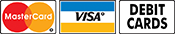 We accept Master Card, Visa, and Debit Cards